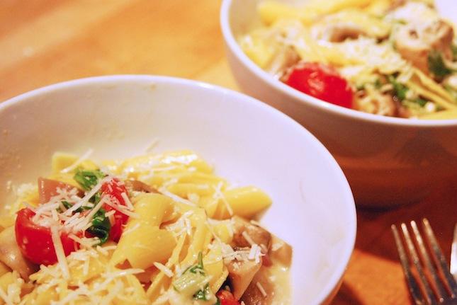 Arugula Brie And Mushroom Pasta