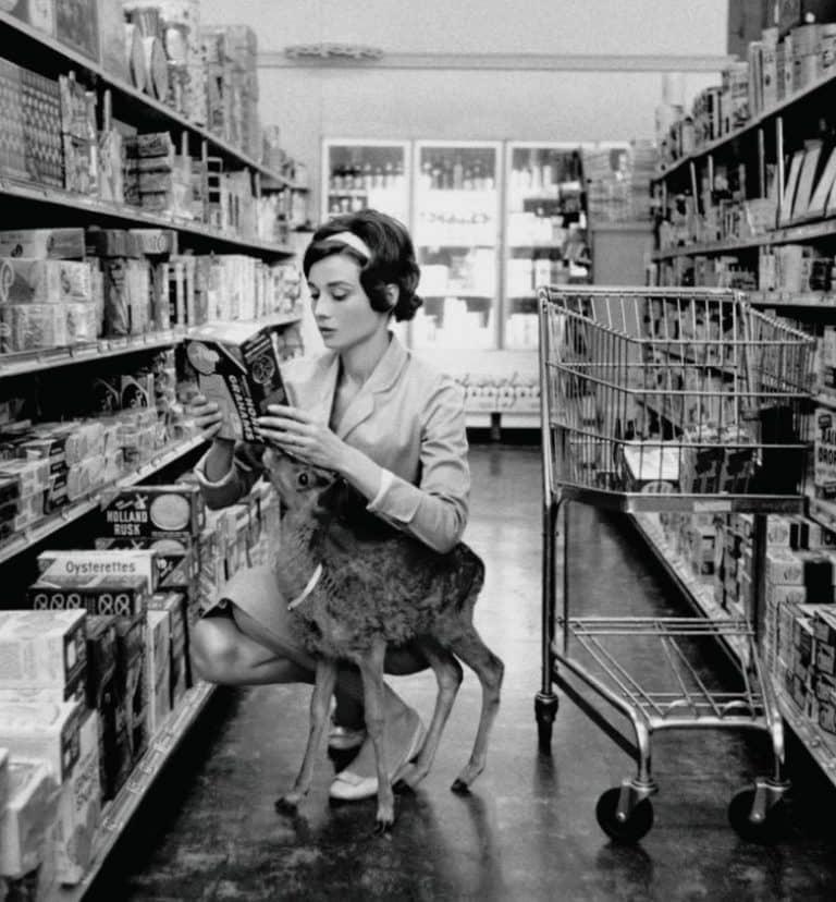 Audrey Hepburn Shopping With Her Pet Deer