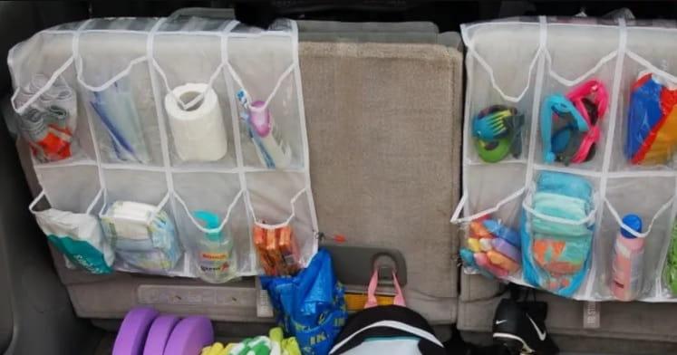Use Over The Door Shoe Racks As Backseat Organizers